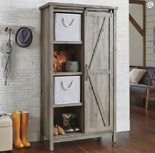 Kitchen Storage Cabinet Rustic Grey Pantry Bookcase Barn Door Farmhous 36 Inch