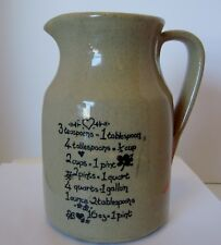 MOIRA POTTERY England Stoneware Pitcher Creamer w/ Measurement Equivalents