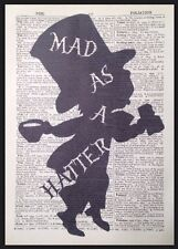 Vintage Alice In Wonderland Mad As A Hatter Quote Print Picture Dictionary Page