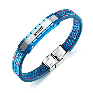 "Mens Blue Leather Bracelet Steel Cubic Zirconia 8.5"" New Wristband Jewelry Gift"