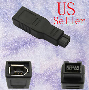 Firewire 800 to 400 Adapter 9 to 6 pin - Black