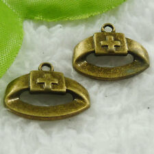 Free Ship 160 pieces bronze plated nurse cap charms 20x16mm #1860