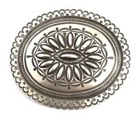 Native American Sterling Silver Navajo Hand Made Silver Stamp Belt Buckle
