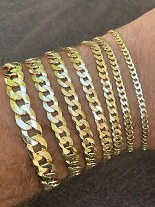Real 14k Gold Vermeil 925 Sterling Silver Flat Cuban Bracelet 3-10mm Mens Ladies