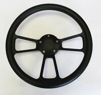 "60-73 All VW Volkswagen Black Grip on Black Spokes Steering Wheel 14"" plain cap"