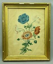 * Antique ea.1800's Theorem American FOLK ART Watercolor Flowers Grouping