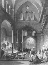 Jerusalem Church of Holy Sepulchre Resurrection Jesus~ 1837 Art Print Engraving