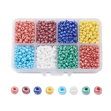 1900pcs/Box Ceylon Round 6/0 Glass Seed Beads Tiny Loose Spacers Beads Kits 4mm