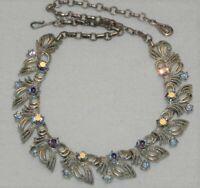 "Vintage 60s Coro Aurora Blue Rhinestone 16"" Choker Necklace"