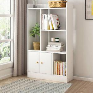 Home Storage Cabinet Display Bookcase Bookshelf Doors Shelving Corner Stand Unit