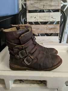 Frye Womens Valerie Strappy Shearling Lined Leather Fashion Ankle Boots brown 9