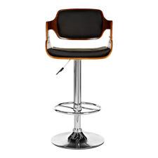Premier Walnut Wood Bar Stool Black Leather Effect Gas Lift Padded Seat Chair