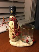 Christmas YANKEE CANDLE 2011 ~ SNOWMAN ~ Candle Votive Holder Bells