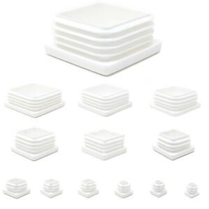 Square Blanking End Cap Pipe Tube Inserts Furniture Feet Made in Germany / WHITE