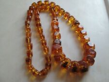 VICTORIAN BALTIC COGNAC AMBER LARGE CUBOID GRADUATED NECKLACE 30 INCH 96 GRAMS