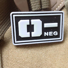 GLOWING Military Blood Type O- Negative Tactical Army 3D PVC RUBBER Patch