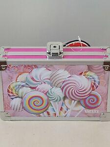 Vaultz Hot Pink Embossed Lollipops Locking  Pencil Craft Jewelry Box Brand New