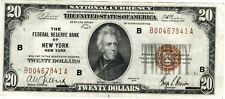 1929 $20 National Currency, FRB of New York, High Grade (J-104)