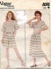 1980's VTG VOGUE Misses' Top,Skirt,Culottes and Belt ADRI Pattern 2951 10 UNCUT