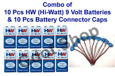 Set of 10 pcs 9V 9 Volt Battery HW Hi-Watt 6F22 & 10 Pcs Battery Connector Caps