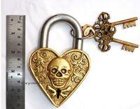 Antique Vintage Style Brass Handmade Padlock Heart Shape Skull Design Lock Keys