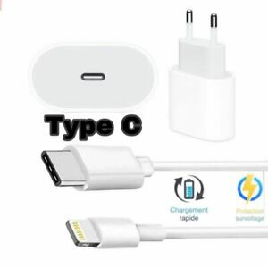 Cable USB Type C  Chargeur secteur mural Type C pour iPhone 7/8/X/11/12 20W
