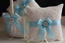 Sky Blue Wedding Pillow Basket Set, Light Blue Flower Girl Basket + Ring Bearer