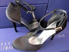 NEW STUART WEITZMAN WOMENS SHOES SZ 9.5 BLACK SATIN & LEATHER GLOOVALTEE T STRAP