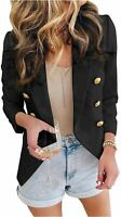 Asvivid Womens Casual Pocketed Office Blazers Draped Open, E Black, Size Large t