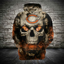 Chicago Bears Football Hoodie Zipper Loose Sweatshirt Hooded Sport Casual Jacket