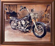 Harley Davidson Black Motorcycle Mahogany Framed Picture Art Print (18x22)