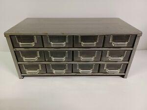 Vintage Small Metal Cabinet Plastic Drawers Organizer, Wall Mountable 12 Drawer