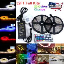 LED Strip Lights DC 12V 5A 5050 SMD 3528 LED Tape Commercial Rope US Plug