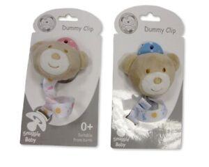 Baby Dummy Clip - Teddy - Pink Blue Boys Girls