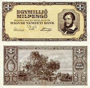 HUNGARY 1 Million Pengo Banknote World Paper Money VF Currency Pick p128 1946