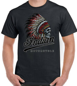 Indian American Motorcycle T-Shirt Biker Motorbike Bikie Skull Tee Top
