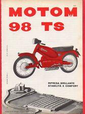 Pubblicità Advertising Werbung 1957 MOTOM 98 TS