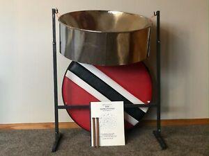 Vintage steelpan / steel drum package  (pan, steel stand, case, sticks, book)