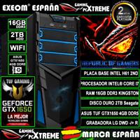 Ordenador Gaming Pc Intel Core i7 16GB DDR3 2TB ASUS GTX1650 4GB Ti de Sobremesa