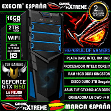 Ordenador Gaming Pc Intel Core i7 16GB DDR3 2TB ASUS GTX1650 4GB Ti de Sobremesa