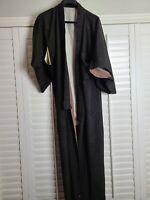 Vintage Kimono Traditonal Japanese Jacket Robe Geisha Black Brown Lined