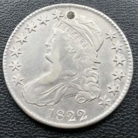 1822 Capped Bust Half Dollar 50c High Grade XF - AU Details Rare #27474