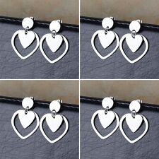 4 Pair/Lot Women's Stainless Steel Fashion Heart Stud Dangle Earrings Wholesale