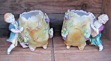 Vintage German Porcelain GrapeVine Egg Vase Figurine Couple Pair Spill Vases