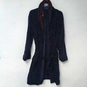 Dressing Gown Men's L-XL Navy Blue and Burgundy BNWT New.Primark