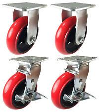 4 Heavy Duty Caster Set 4 5 6 Polyurethane Cast Iron Wheels No Mark Round
