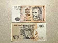 2 - 100 Intis Peru Notes Unc. Consec. Numbers #8455
