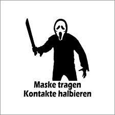 Maske tragen Kontakte halbieren - Aufkleber Folie Sticker Auto Tattoo Spruch V2