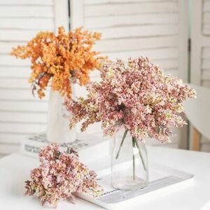Autumn Crafts Pink Wheat DIY Artificial Flowers Bouquet Berry spike Fake Plants
