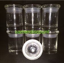6 JARS, GLASS MEDICAL HERB STASH JARS ODORLESS AIR TIGHT  THICK GLASS
